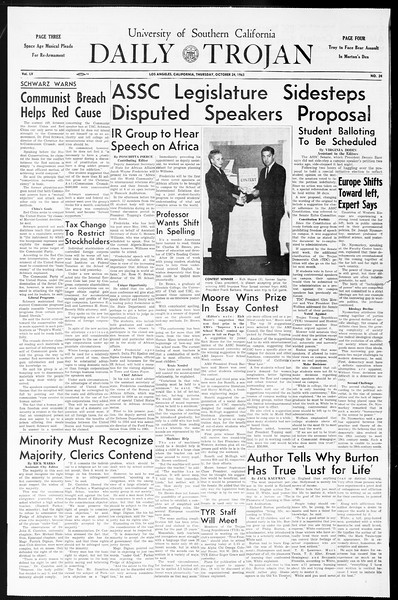 Daily Trojan, Vol. 55, No. 24, October 24, 1963