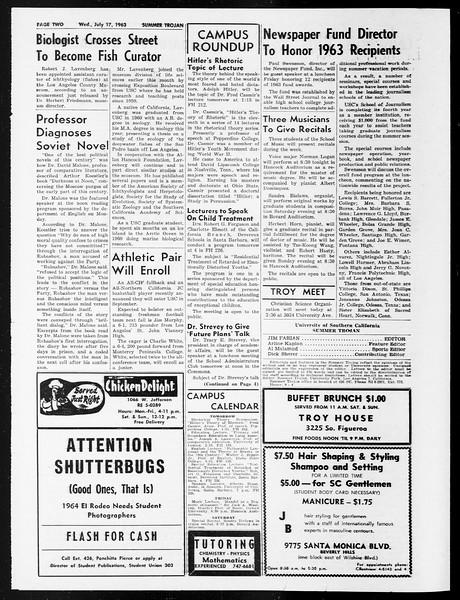 Summer Trojan, Vol. 13, No. 7, July 17, 1963