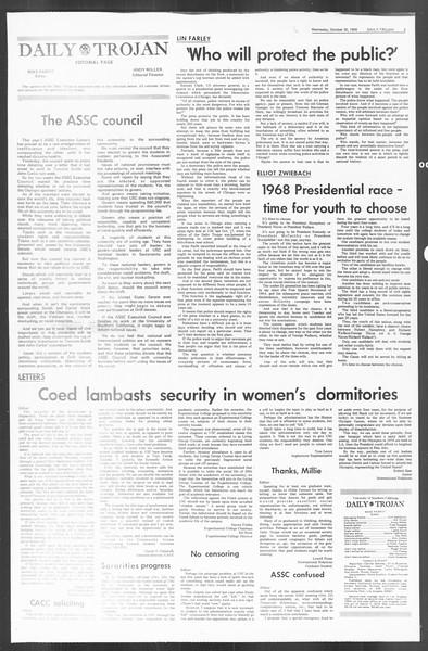 Daily Trojan, Vol. 60, No. 29, October 30, 1968