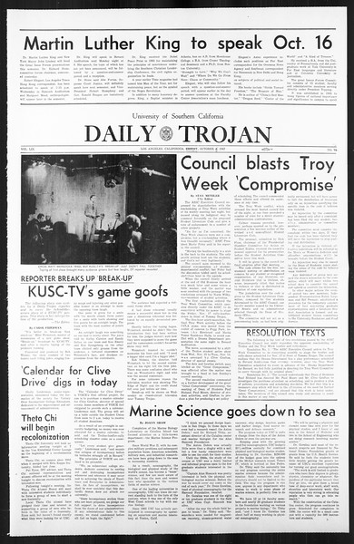 Daily Trojan, Vol. 59, No. 16, October 09, 1967