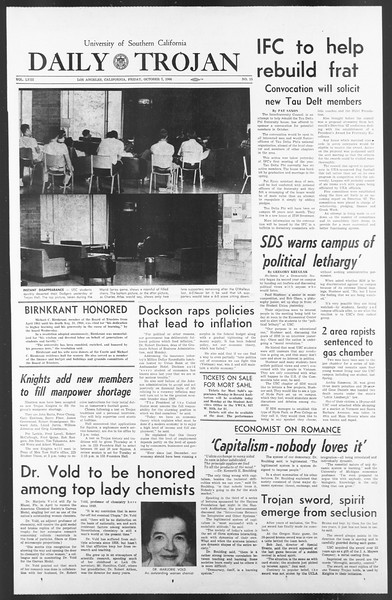Daily Trojan, Vol. 58, No. 15, October 07, 1966