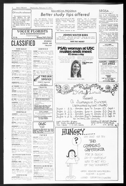 Daily Trojan, Vol. 62, No. 70, February 17, 1971