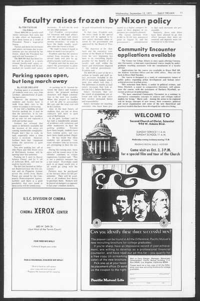Daily Trojan, Vol. 64, No. 1, September 15, 1971