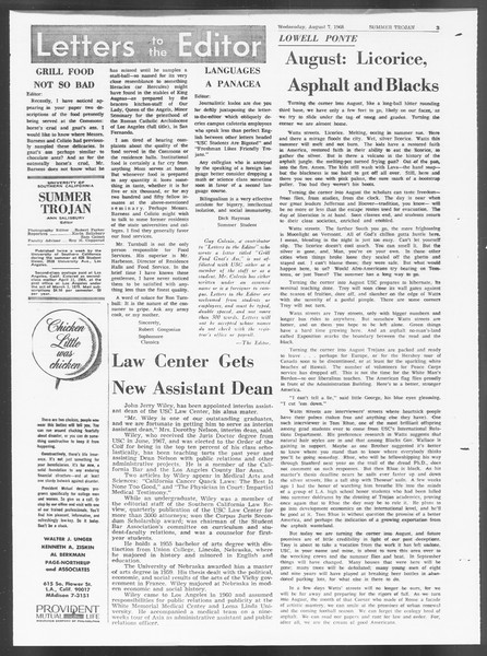 Summer Trojan, Vol. 19, No. 13, August 07, 1968