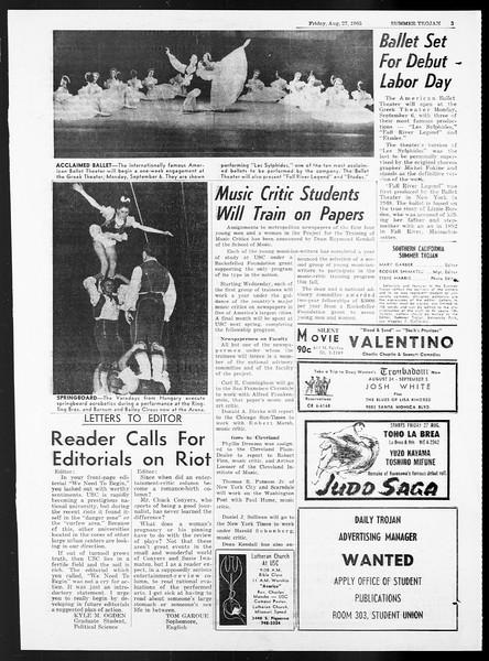 Summer Trojan, Vol. 15, No. 15, August 27, 1965