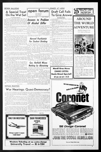Daily Trojan, Vol. 57, No. 73, February 22, 1966