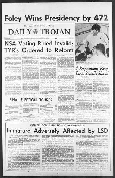 Daily Trojan, Vol. 58, No. 100, April 06, 1967