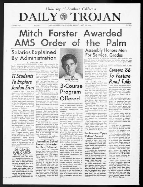 Daily Trojan, Vol. 57, No. 124, May 20, 1966