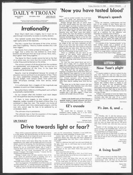 Daily Trojan, Vol. 60, No. 56, December 13, 1968