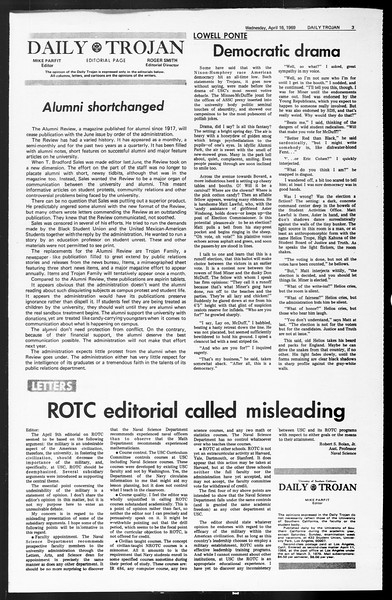 Daily Trojan, Vol. 60, No. 104, April 16, 1969