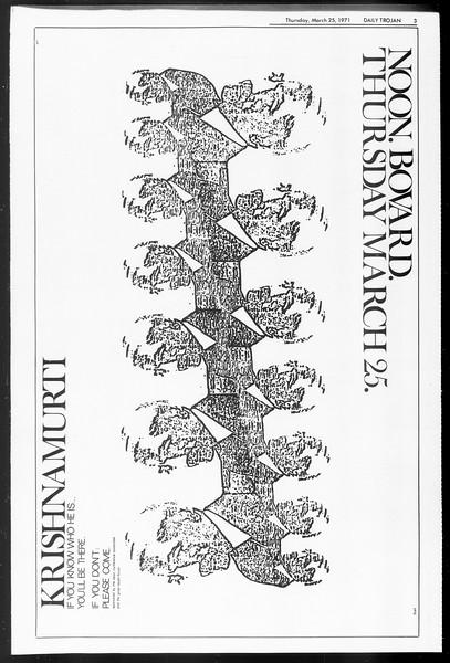 Daily Trojan, Vol. 62, No. 96, March 25, 1971