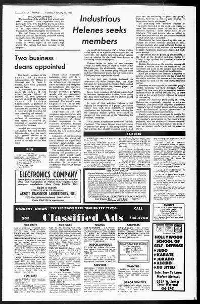 Daily Trojan, Vol. 60, No. 77, February 25, 1969