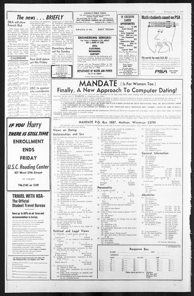 Daily Trojan, Vol. 59, No. 70, February 14, 1968
