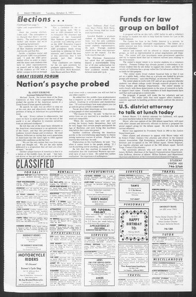 Daily Trojan, Vol. 64, No. 11, October 05, 1971