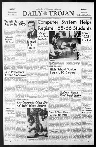 Daily Trojan, Vol. 57, No. 4, September 23, 1965