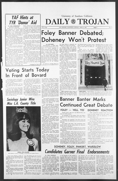 Daily Trojan, Vol. 58, No. 97, April 03, 1967