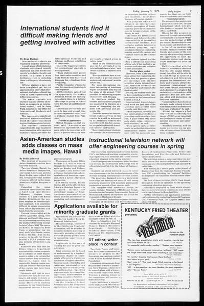 Daily Trojan, Vol. 65, No. 60, January 05, 1973