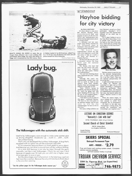 Daily Trojan, Vol. 60, No. 43, November 20, 1968