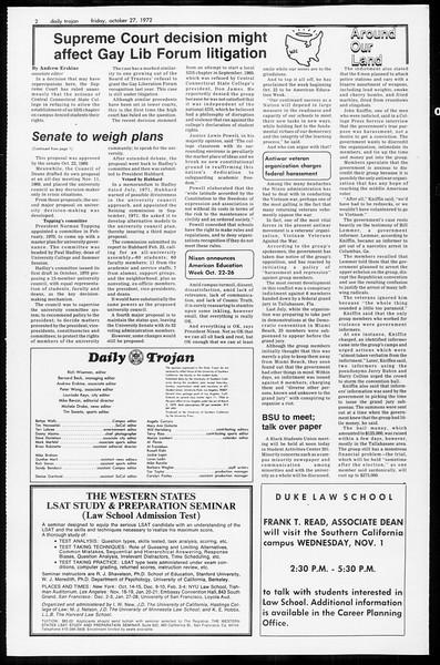 Daily Trojan, Vol. 65, No. 27, October 27, 1972