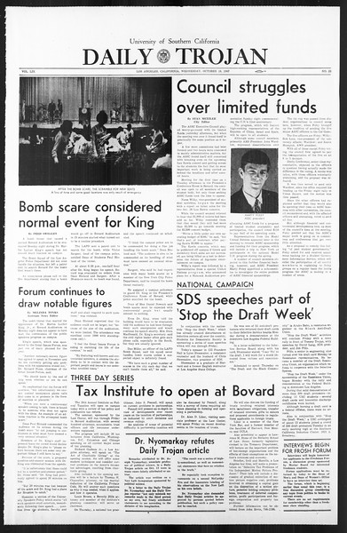 Daily Trojan, Vol. 59, No. 23, October 18, 1967