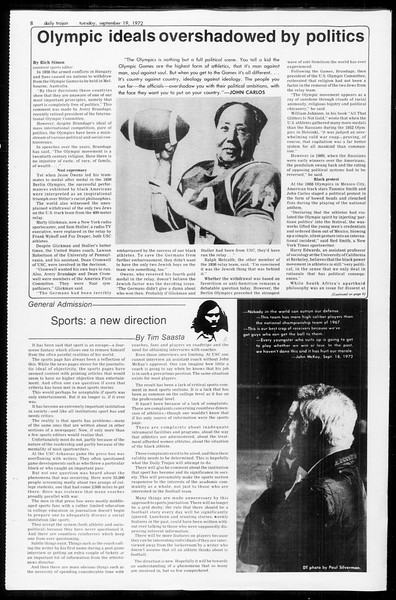 Daily Trojan, Vol. 65, No. 2, September 19, 1972