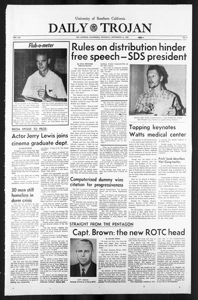 Daily Trojan, Vol. 59, No. 4, September 21, 1967
