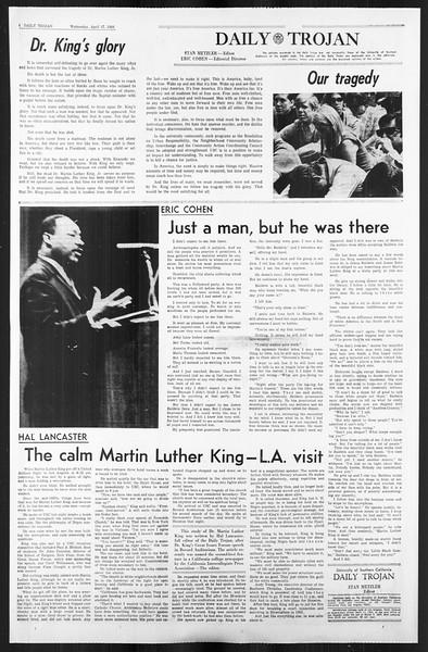 Daily Trojan, Vol. 59, No. 106, April 17, 1968