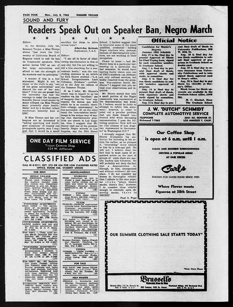 Summer Trojan, Vol. 13, No. 4, July 08, 1963