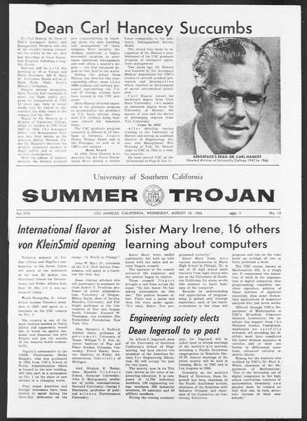 Summer Trojan, Vol. 17, No. 13, August 10, 1966