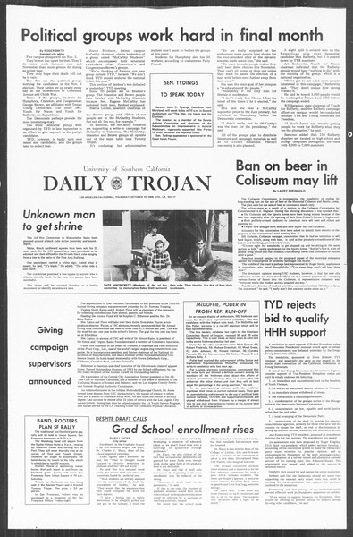 Daily Trojan, Vol. 60, No. 17, October 10, 1968