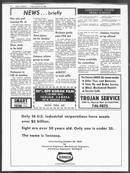 Daily Trojan, Vol. 60, No. 27, October 25, 1968
