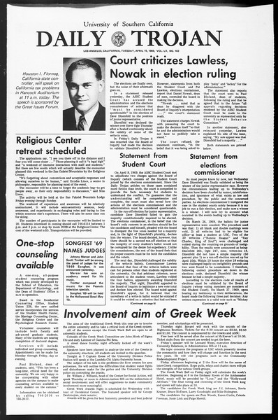 Daily Trojan, Vol. 60, No. 103, April 15, 1969