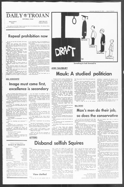 Daily Trojan, Vol. 60, No. 8, September 25, 1968