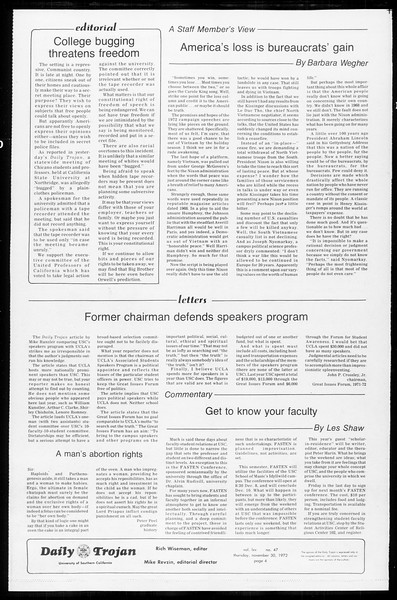 Daily Trojan, Vol. 65, No. 47, November 30, 1972