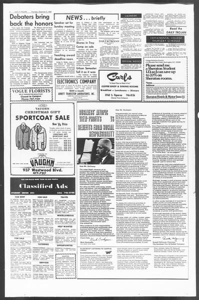 Daily Trojan, Vol. 60, No. 51, December 05, 1968