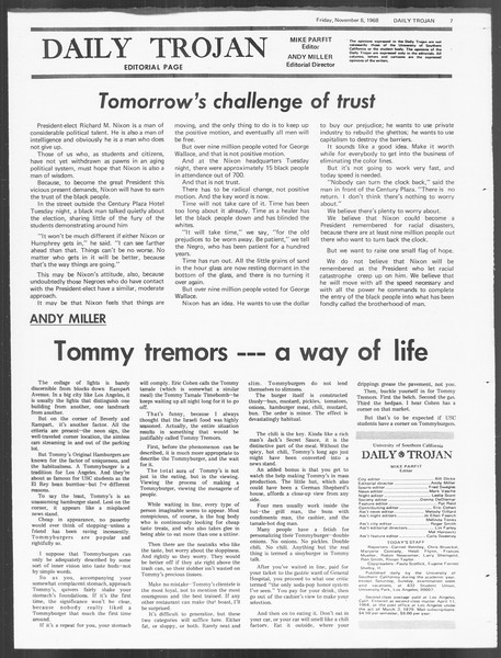 Daily Trojan, Vol. 60, No. 35, November 08, 1968