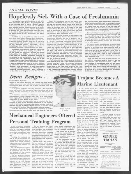Summer Trojan, Vol. 19, No. 11, July 26, 1968