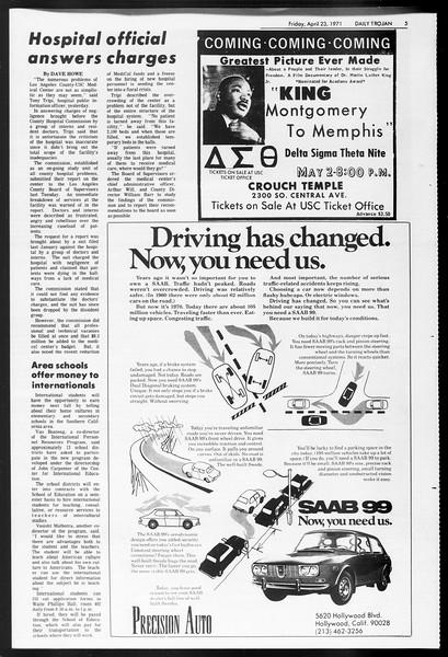 Daily Trojan, Vol. 62, No. 109, April 23, 1971