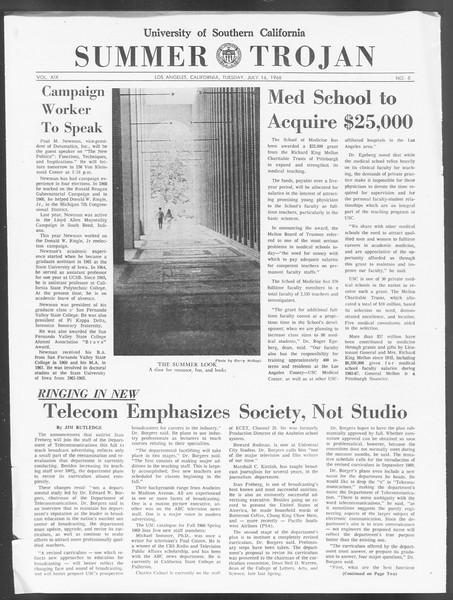 Summer Trojan, Vol. 19, No. 8, July 16, 1968