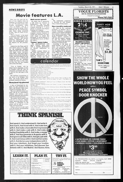 Daily Trojan, Vol. 62, No. 99, March 30, 1971