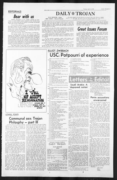 Daily Trojan, Vol. 59, No. 110, April 23, 1968