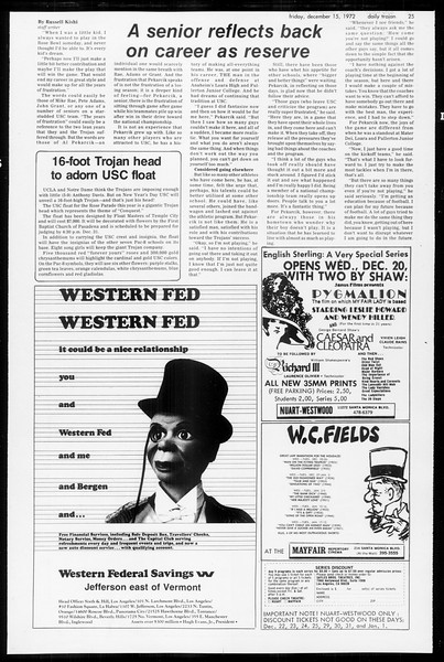 Daily Trojan, Vol. 65, No. 58, December 15, 1972