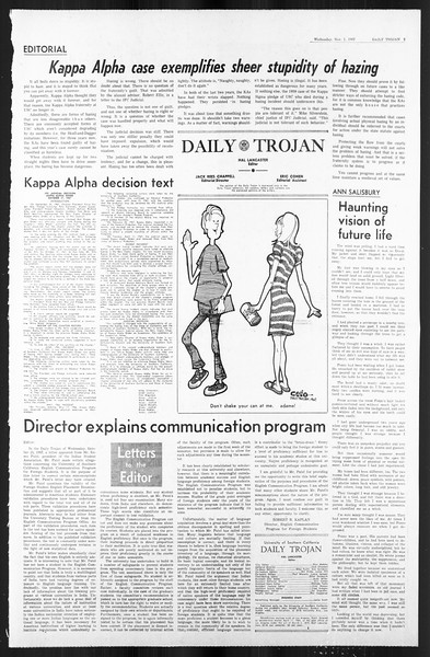 Daily Trojan, Vol. 59, No. 32, November 01, 1967