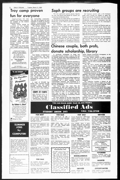 Daily Trojan, Vol. 60, No. 87, March 11, 1969