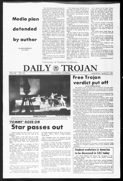 Daily Trojan, Vol. 62, No. 100, March 31, 1971