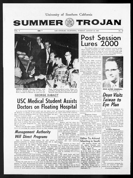 Summer Trojan, Vol. 15, No. 13, August 10, 1965