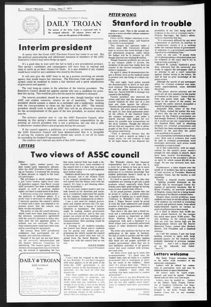 Daily Trojan, Vol. 62, No. 119, May 07, 1971