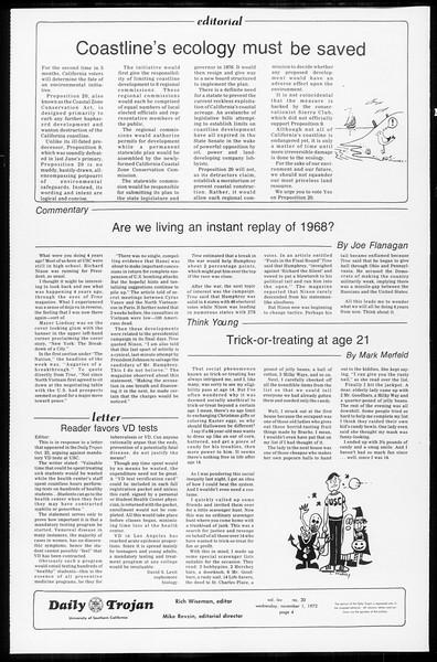 Daily Trojan, Vol. 65, No. 30, November 01, 1972