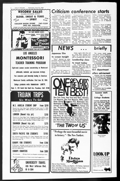 Daily Trojan, Vol. 60, No. 108, April 23, 1969
