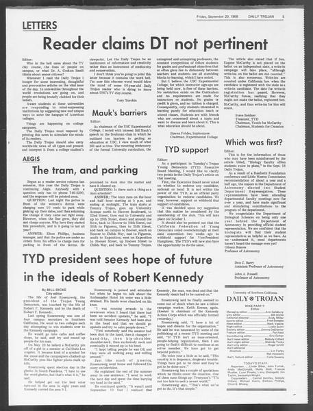 Daily Trojan, Vol. 60, No. 5, September 20, 1968